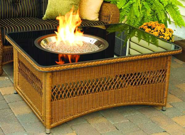 Image of: Naples glass fire pit table