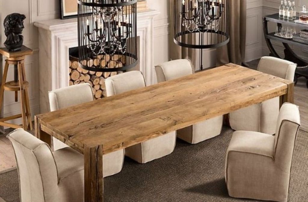 Image of: Narrow Dining Room Table With Bench