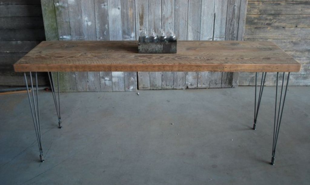 Image of: Narrow Dining Room Tables Reclaimed Wood