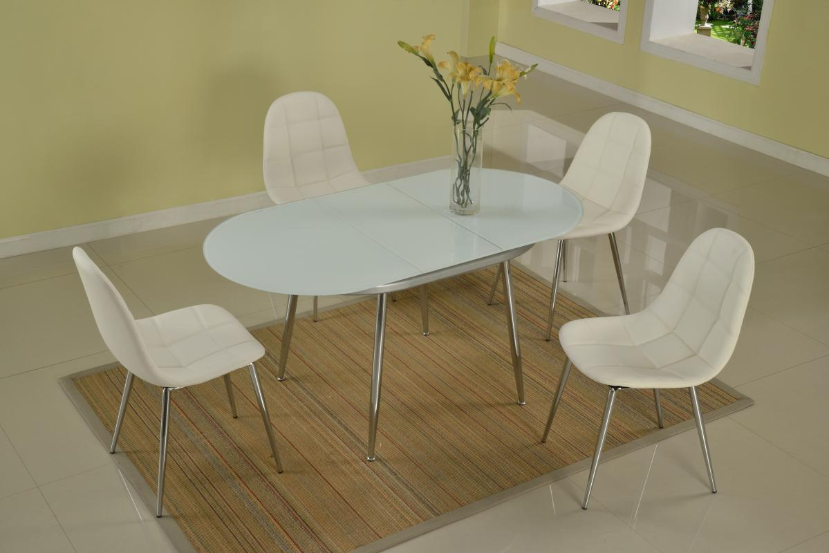 Image of: Oval Glass Extendable Dining Table