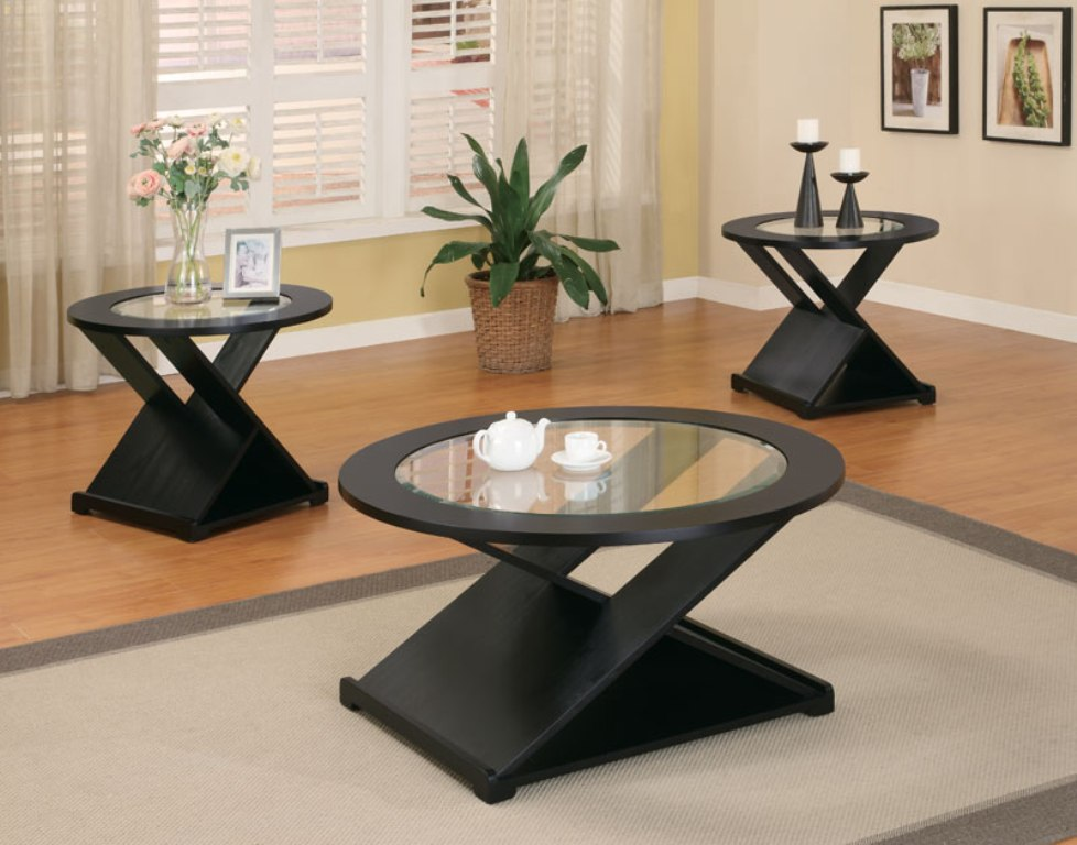 Image of: Round Coffee Table Sets Black