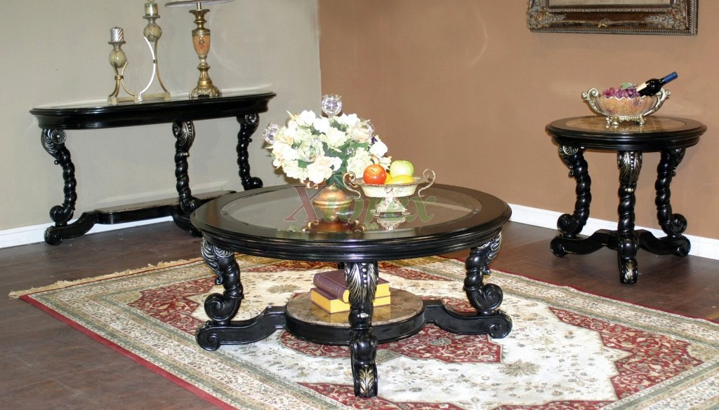 Image of: Round Coffee Table Sets With Glass Top