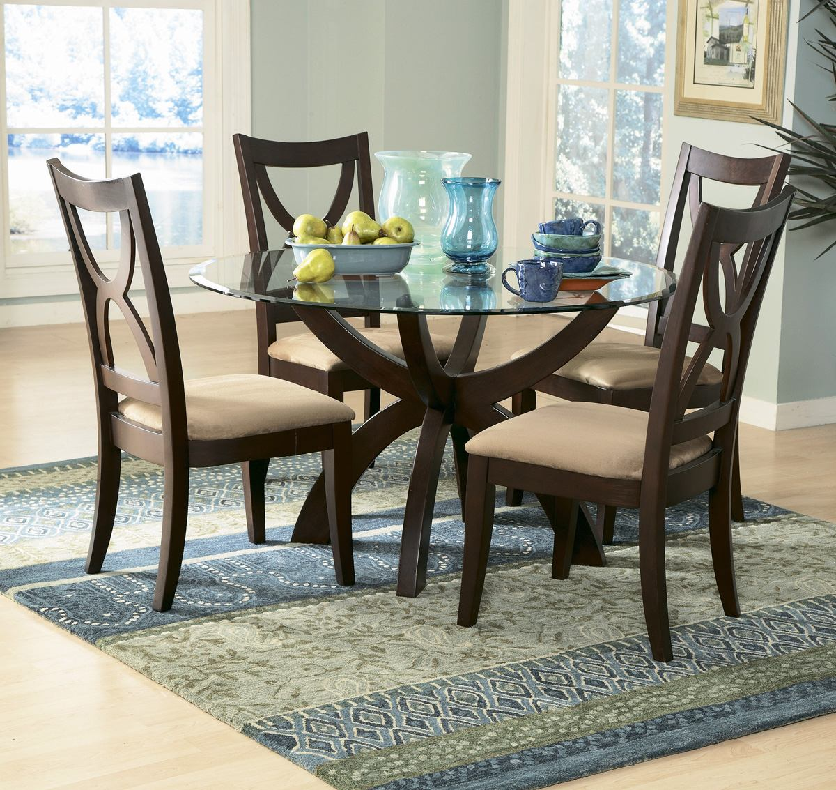 Picture of: Round espresso dining table and chairs