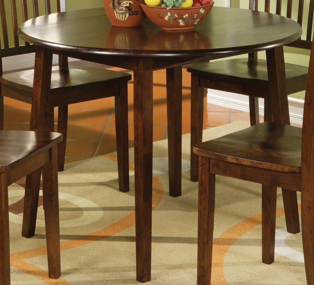 Picture of: Round espresso dining table with leaf