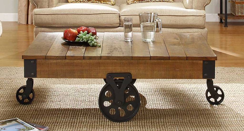 Picture of: Rustic Coffee Table With Wheels