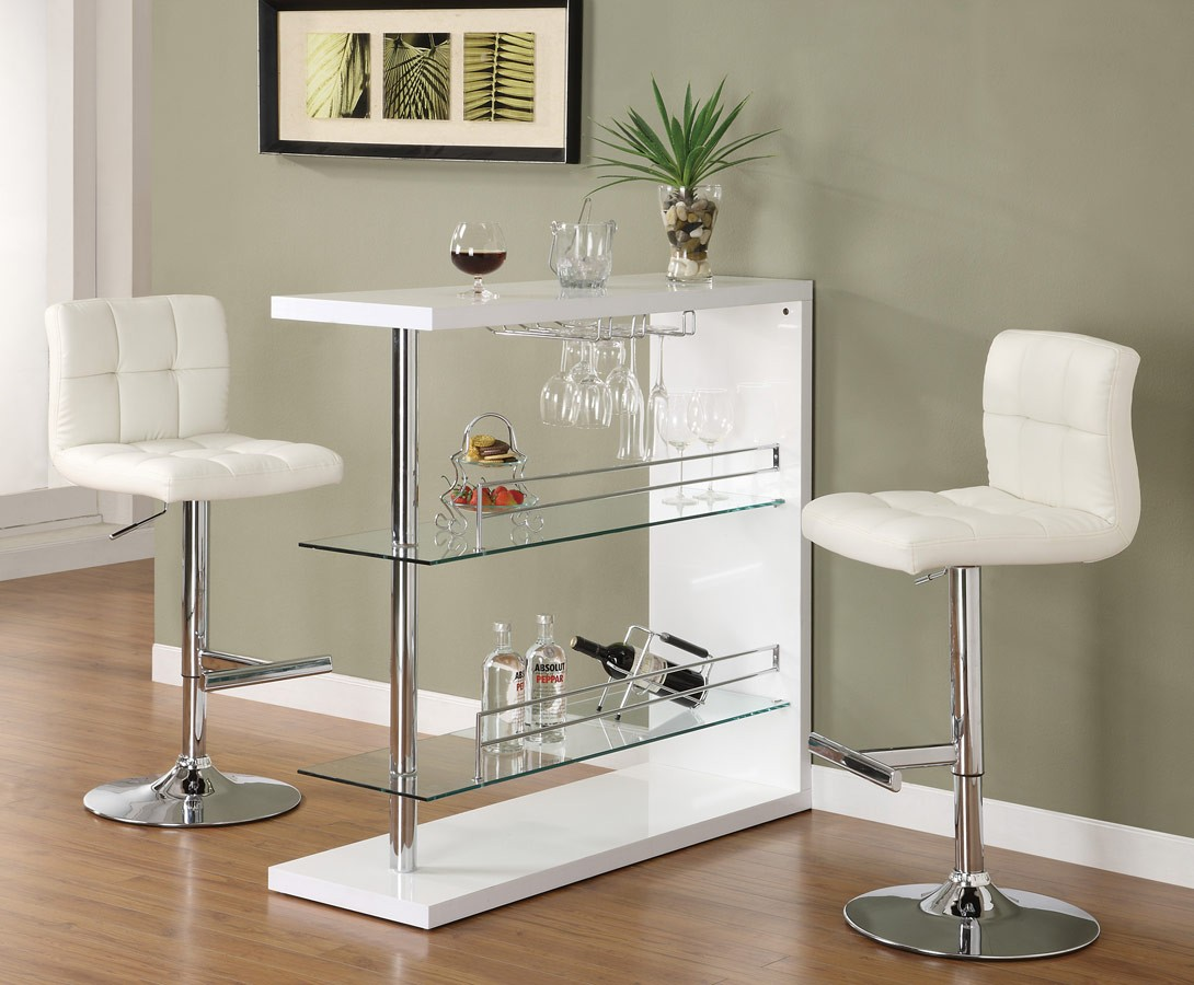 Image of: White Bar Stool and Table Set