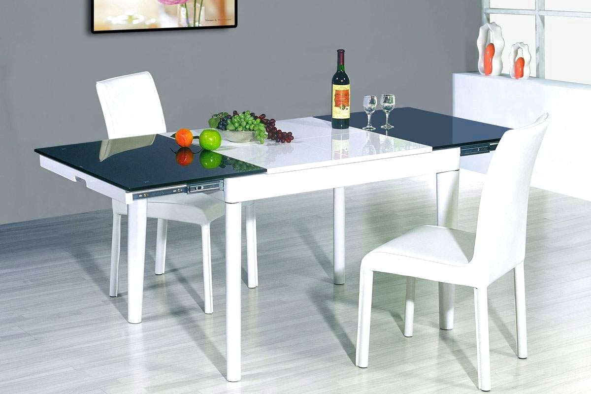 Image of: White Glass Extendable Dining Table