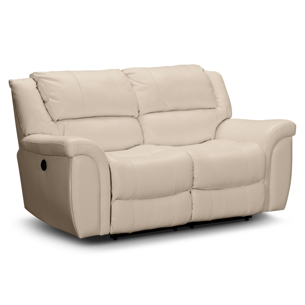 Picture of: White Leather Reclining Loveseat