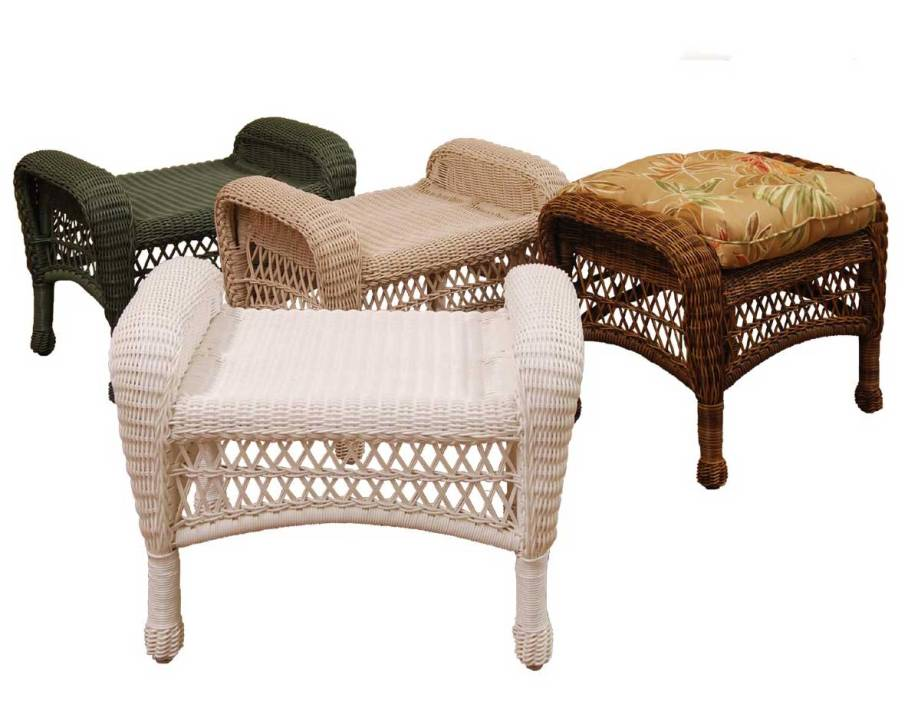 Image of: Wicker Ottoman Trays