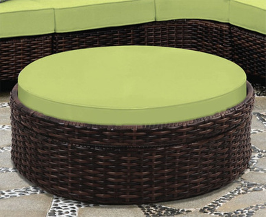 Picture of: Wicker Ottoman With Cushion