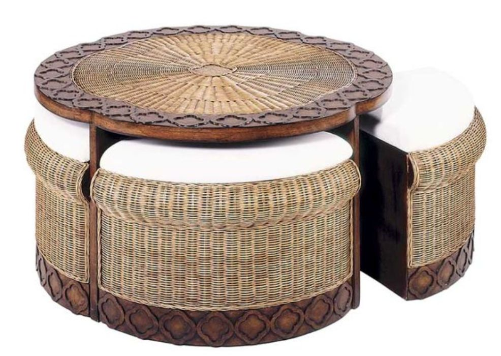 Image of: Wicker Ottoman with Storages Ideas