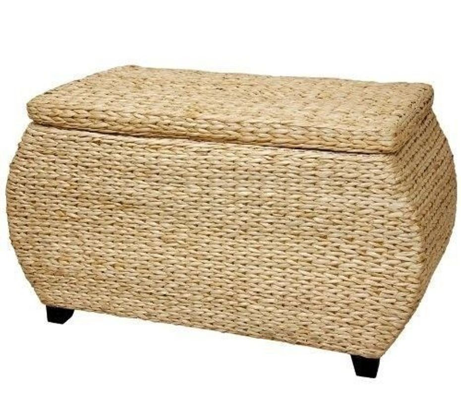 Picture of: Wicker Ottomans with Storage