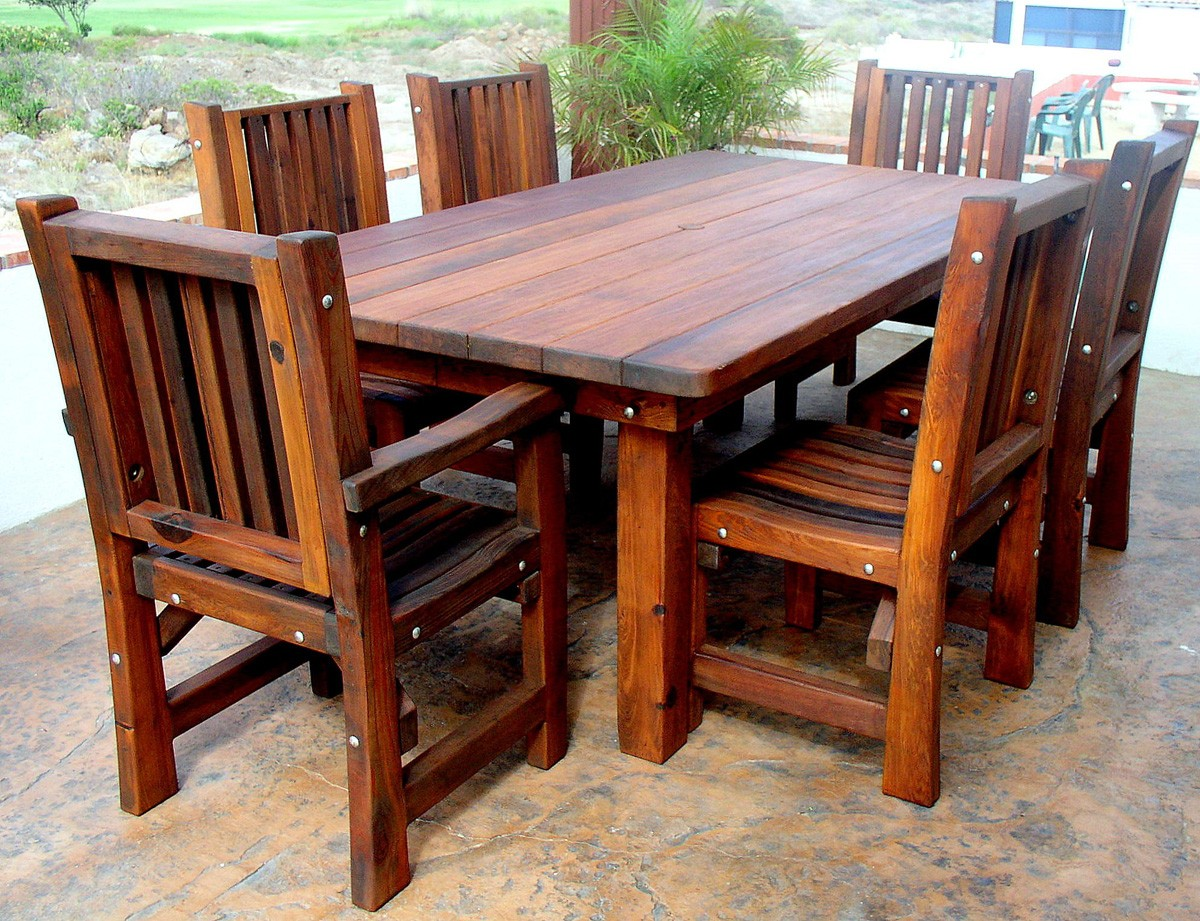 Wood Patio Table With Chair