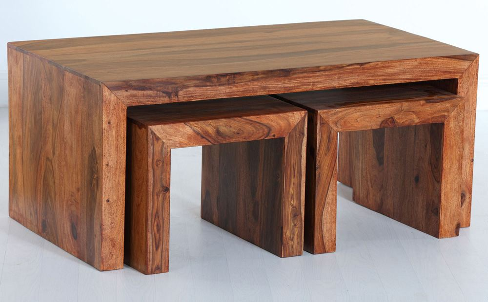 Image of: wood nesting coffee tables