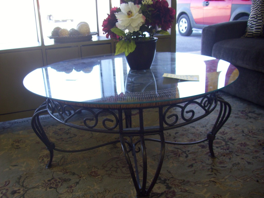 Picture of: Wrought Iron End Tables Glass
