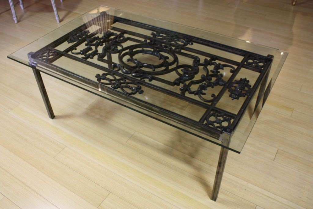 Picture of: Wrought Iron End Tables with Glass Tops
