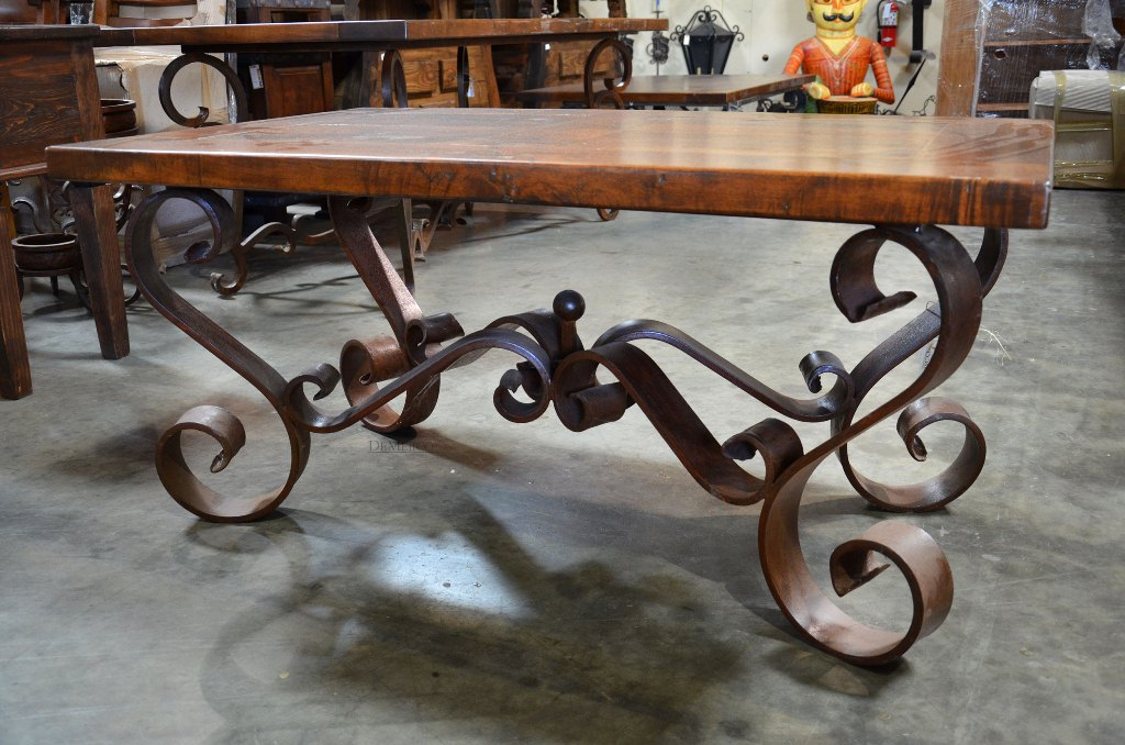 Picture of: Wrought Iron End Tables with Wood Top