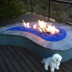 Blue Glass Fire Pit Table
