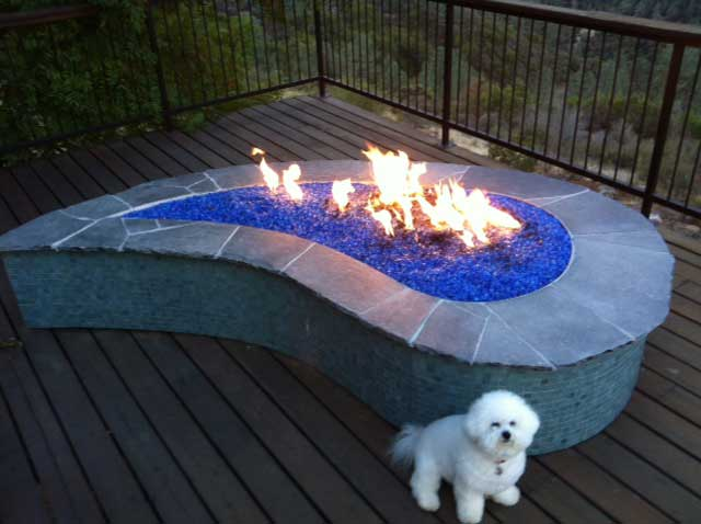 Image of: blue glass fire pit table