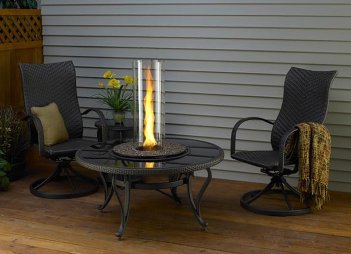 Image of: glass fire pit table design outdoor