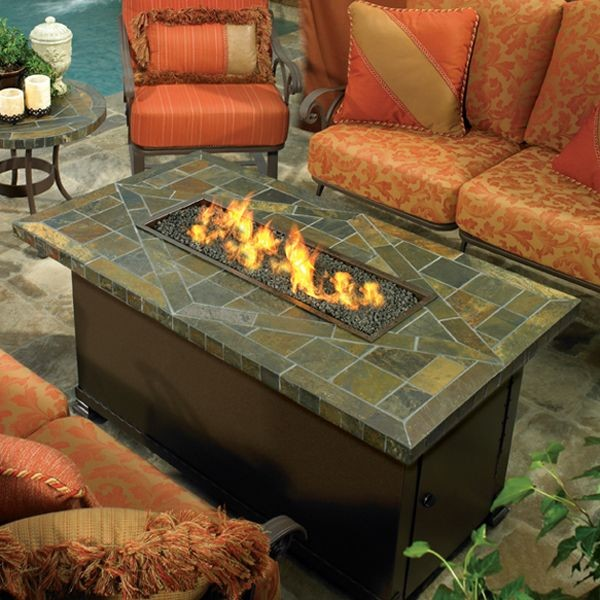Image of: glass fire pit table propane