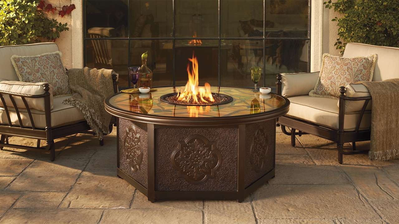 Image of: ideas glass fire pit table