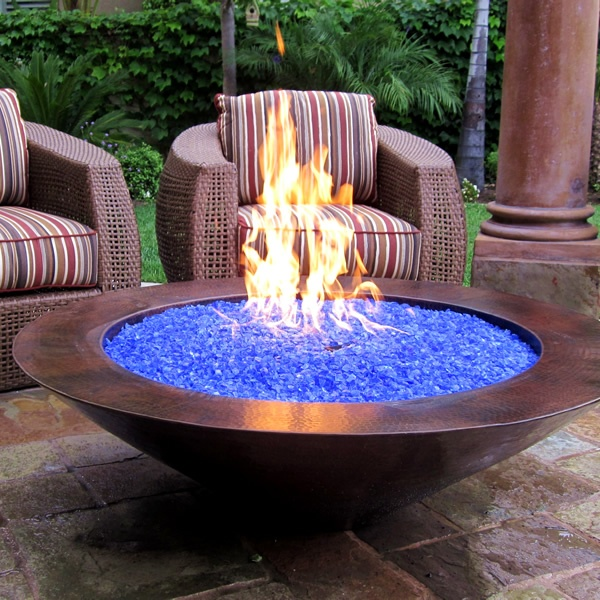 Image of: modern glass fire pit table