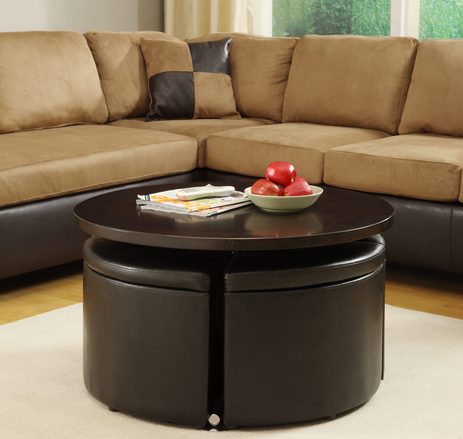 Image of: round coffee table ottoman