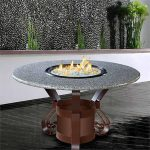 Round Glass Fire Pit Table