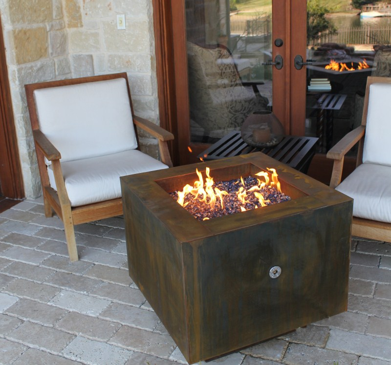 small glass fire pit table