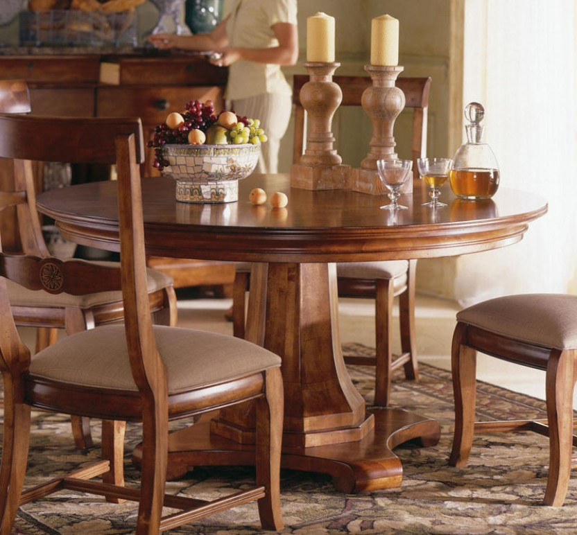 Image of: wooden pedestal dining table