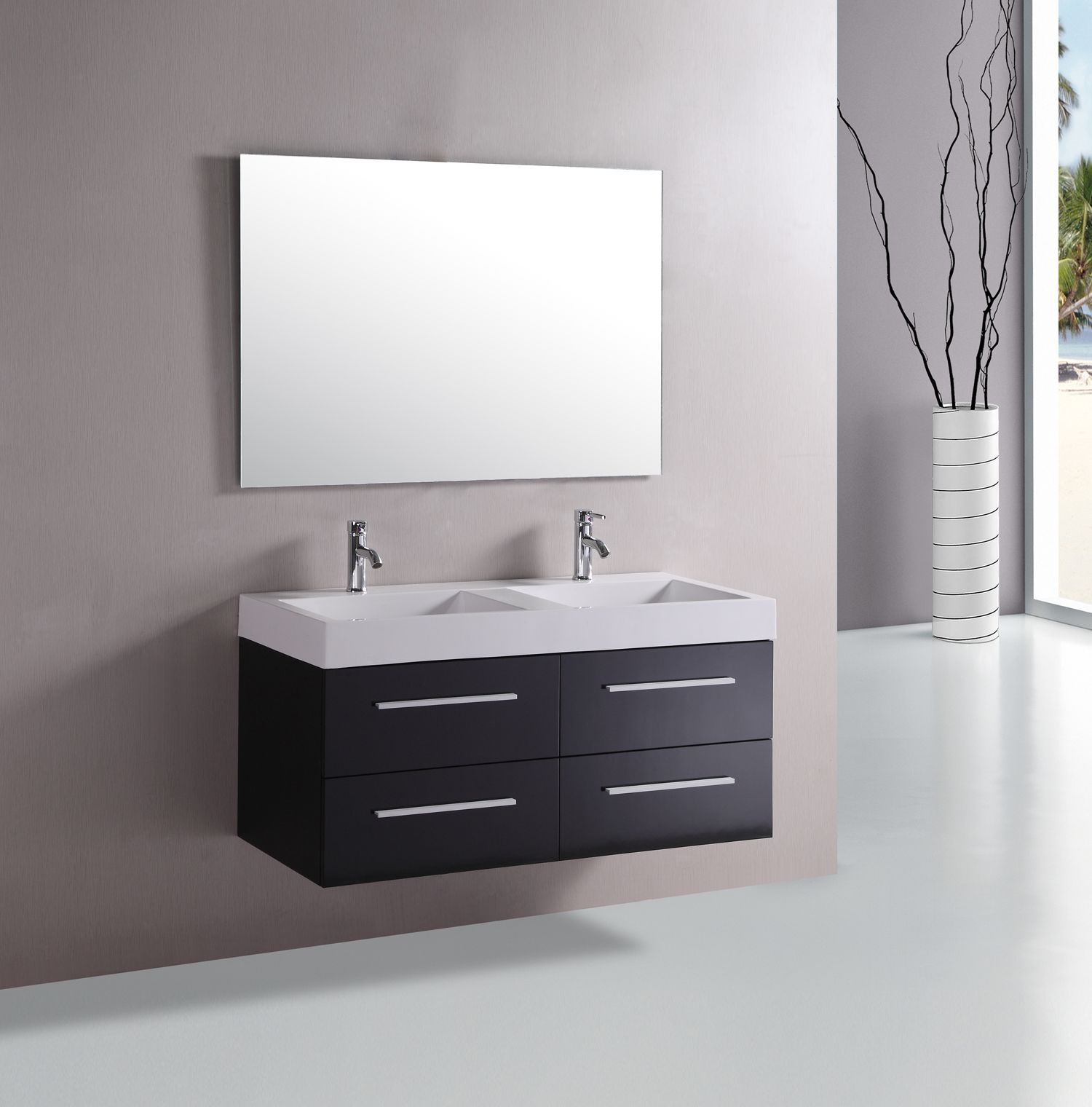 Image of: 48 Double Vanity Floating
