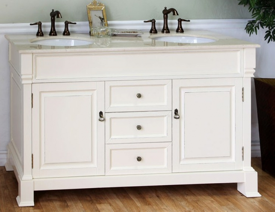 Image of: 58 Inch Small Double Sink Vanity