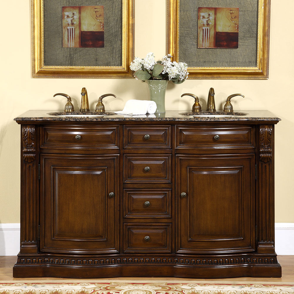 Image of: 60 Inch Bathroom Vanity Double Sink Featur