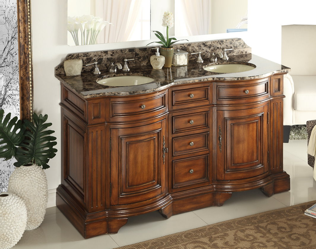 Image of: 60 Inch Bathroom Vanity Double Sink Finish