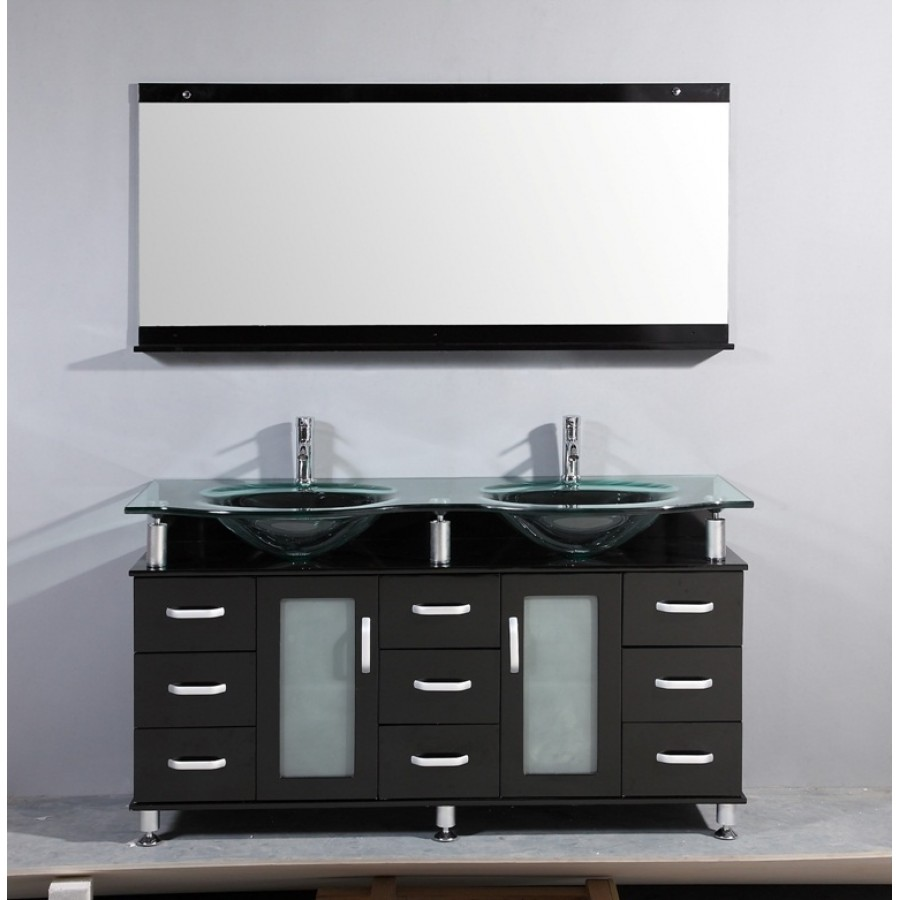 Image of: 60 Inch Bathroom Vanity Double Sink Mirror