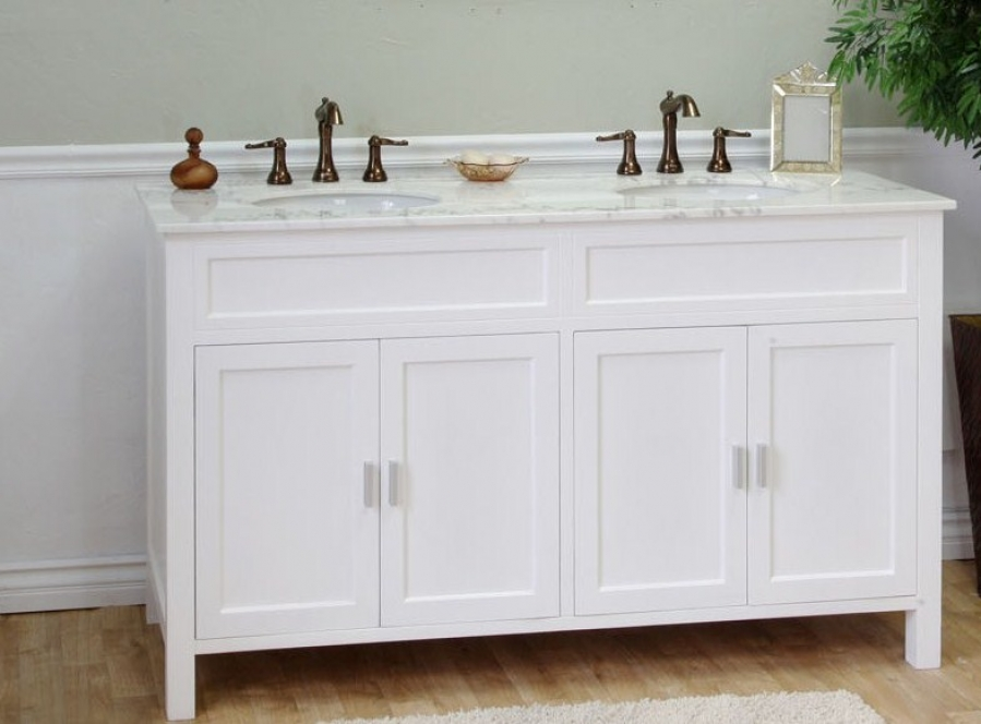 Image of: 60 Inch Bathroom Vanity Double Sink White