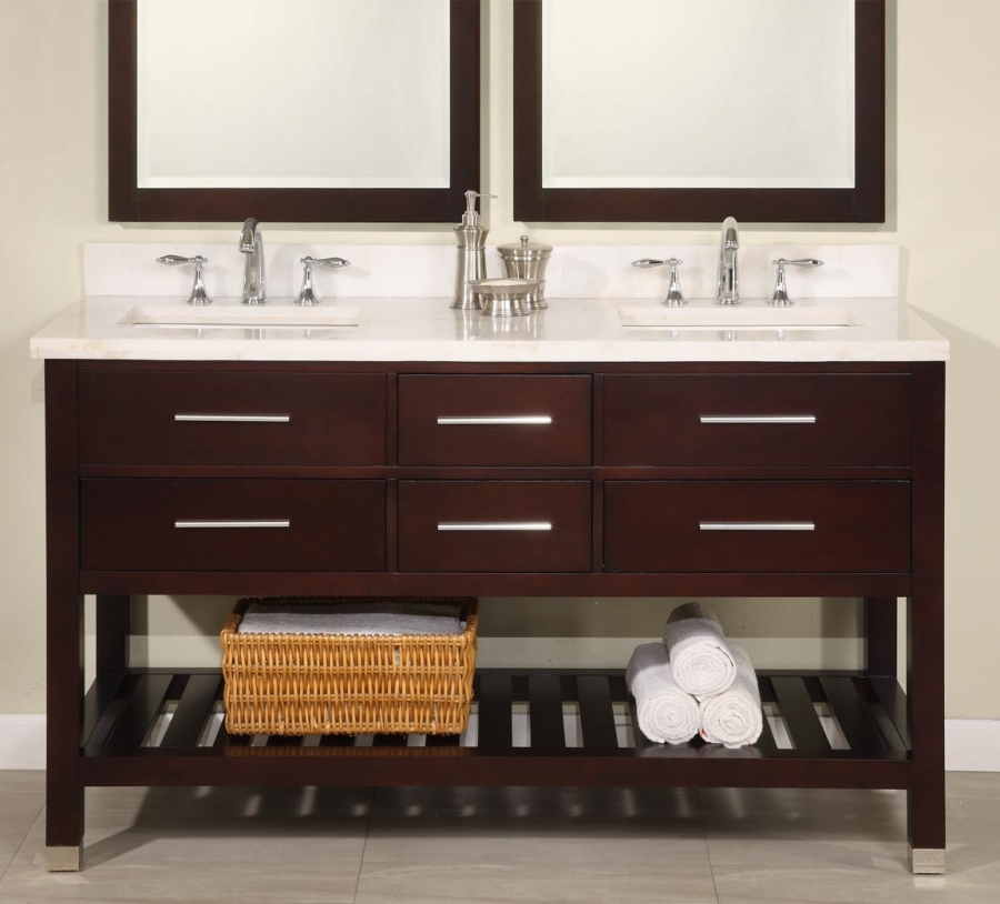 Picture of: 60 Inch Double Sink Vanity with Open Shelf