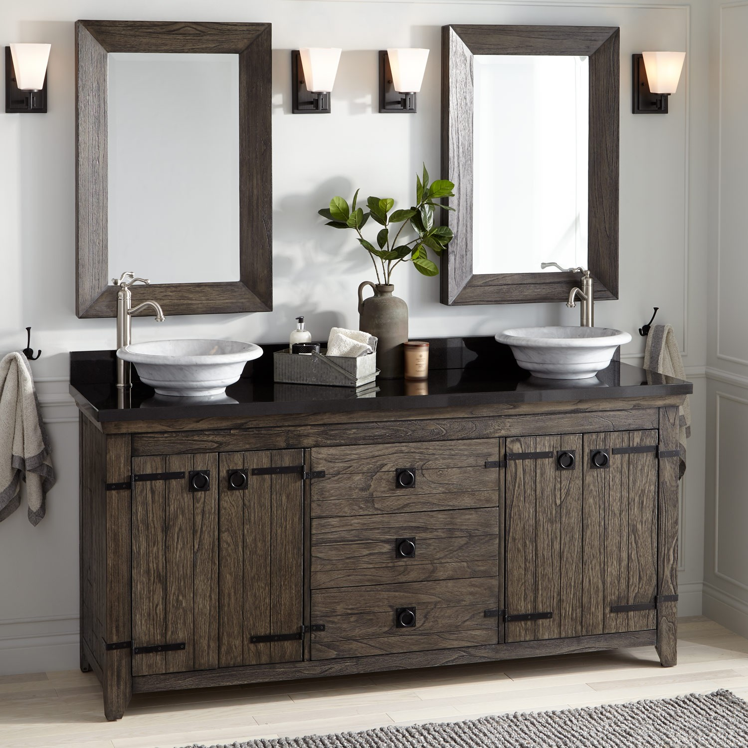 Image of: 72 Inch Rustic Double Vanity