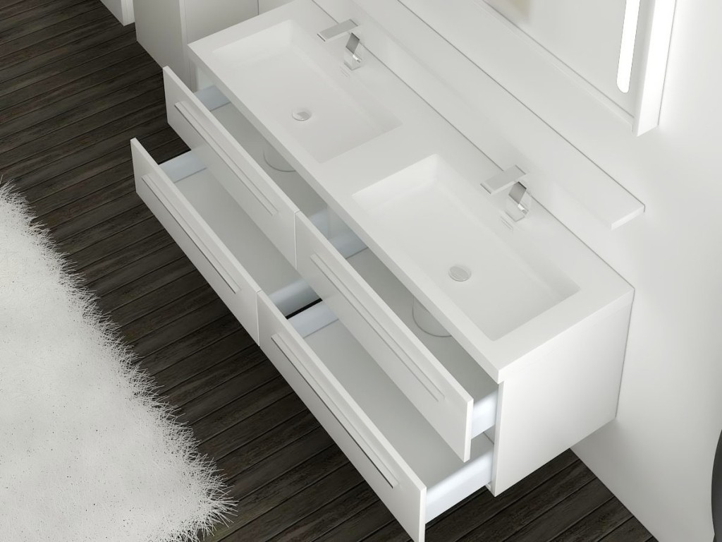Aquamoon White Double Vanity