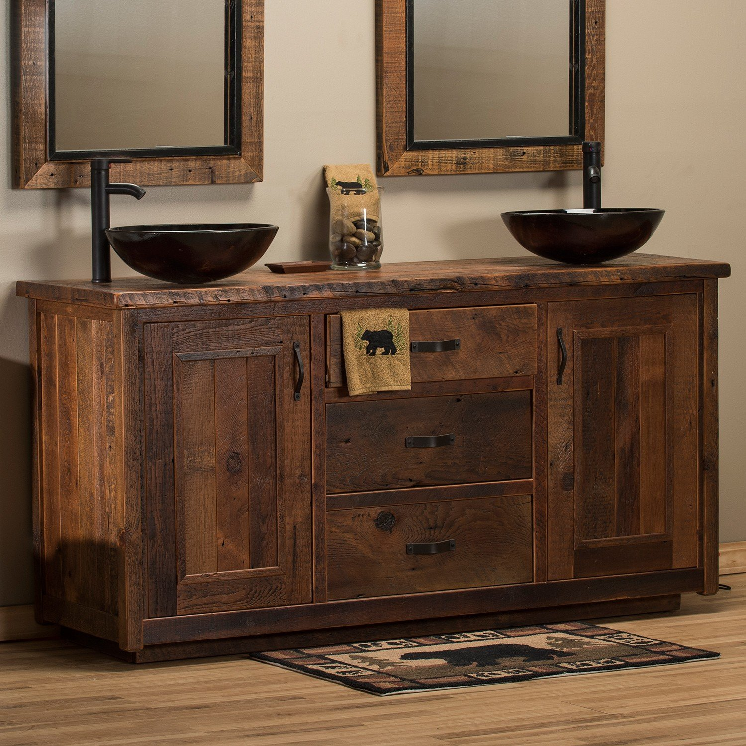Picture of: Barnwood Rustic Double Vanity