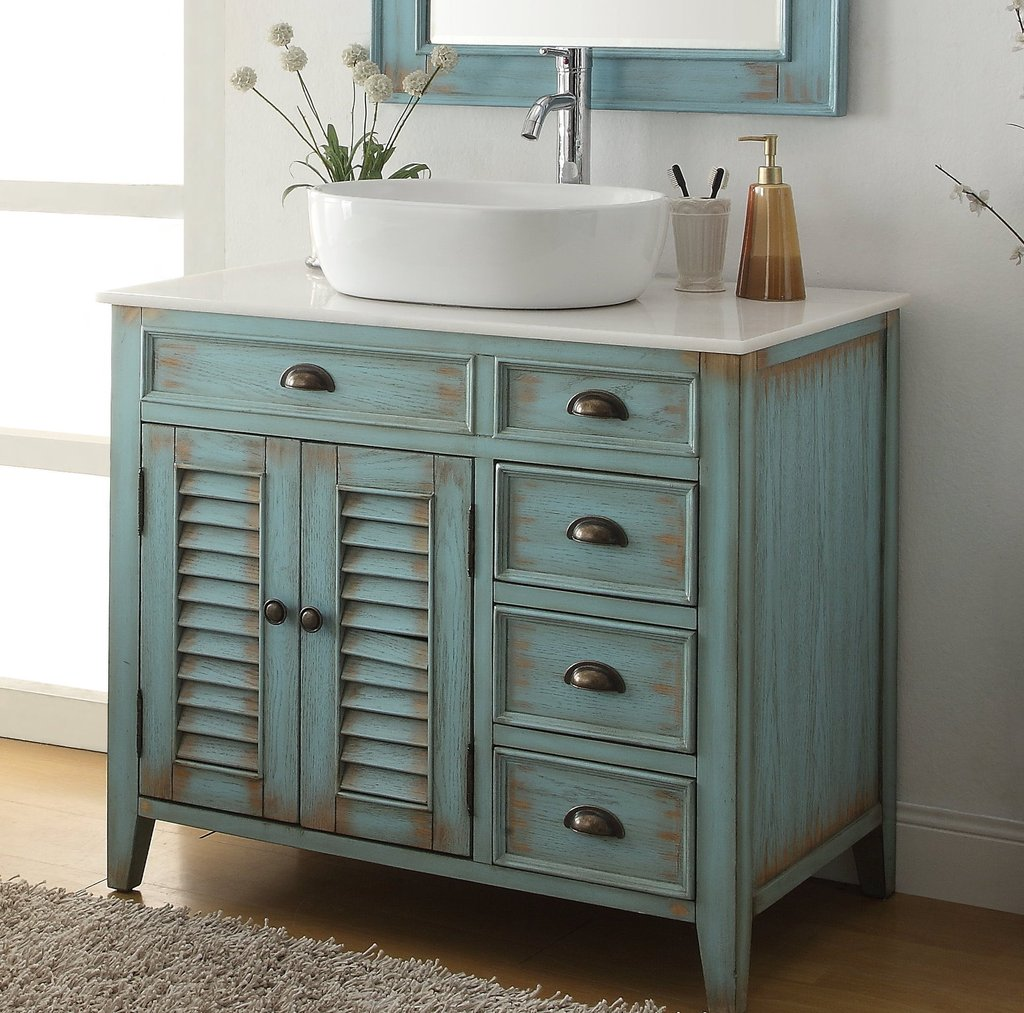 Picture of: Bathroom Vanity with Sink and Cabinet