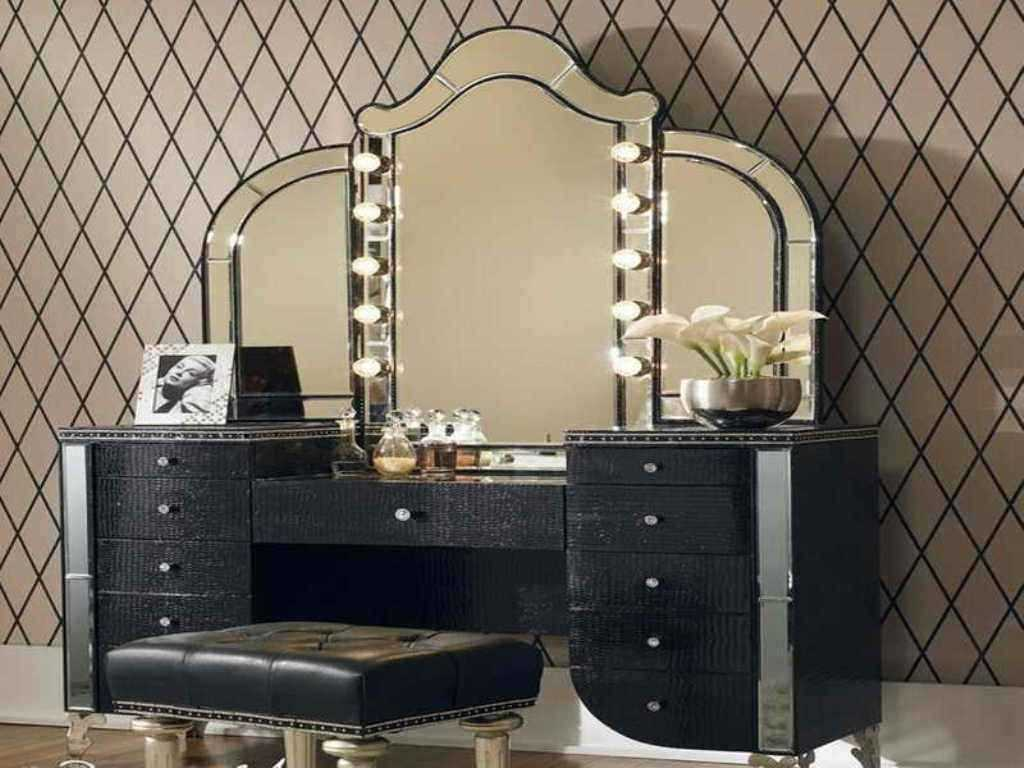 Picture of: Black Bedroom Vanity Table