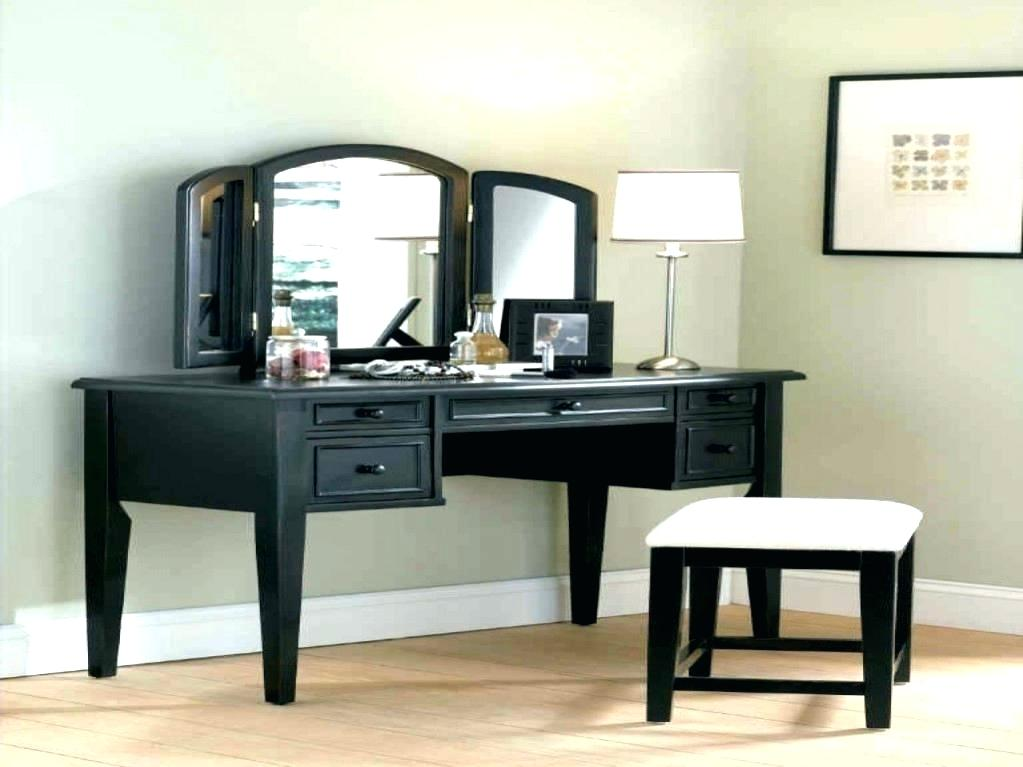 Picture of: Black Vanity Desk with Mirror