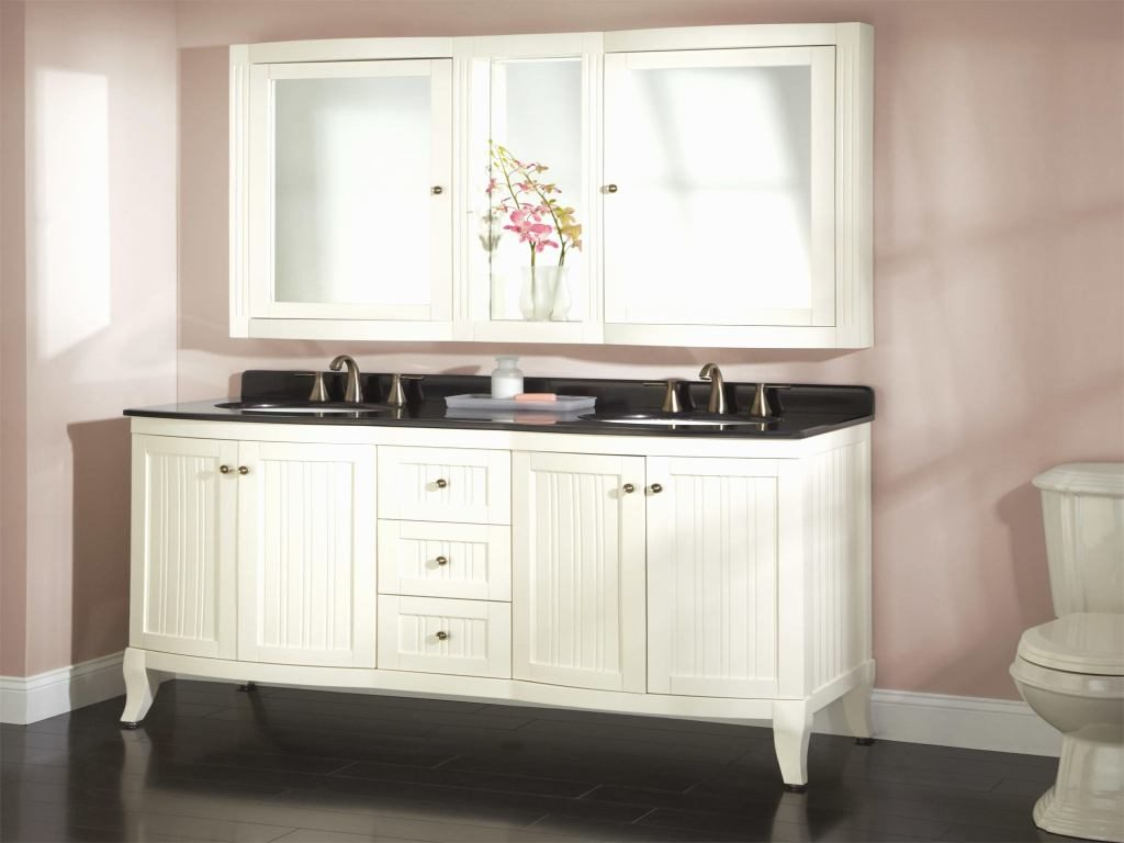 Image of: Cabinets White Double Vanity