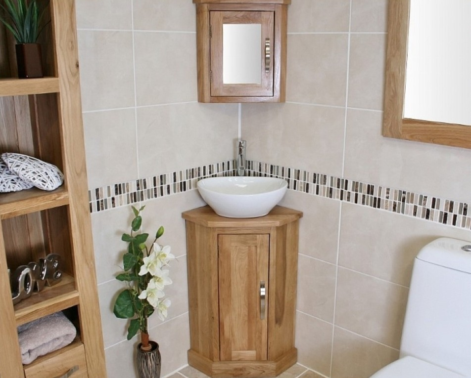 Image of: Corner Bathroom Vanity Oak