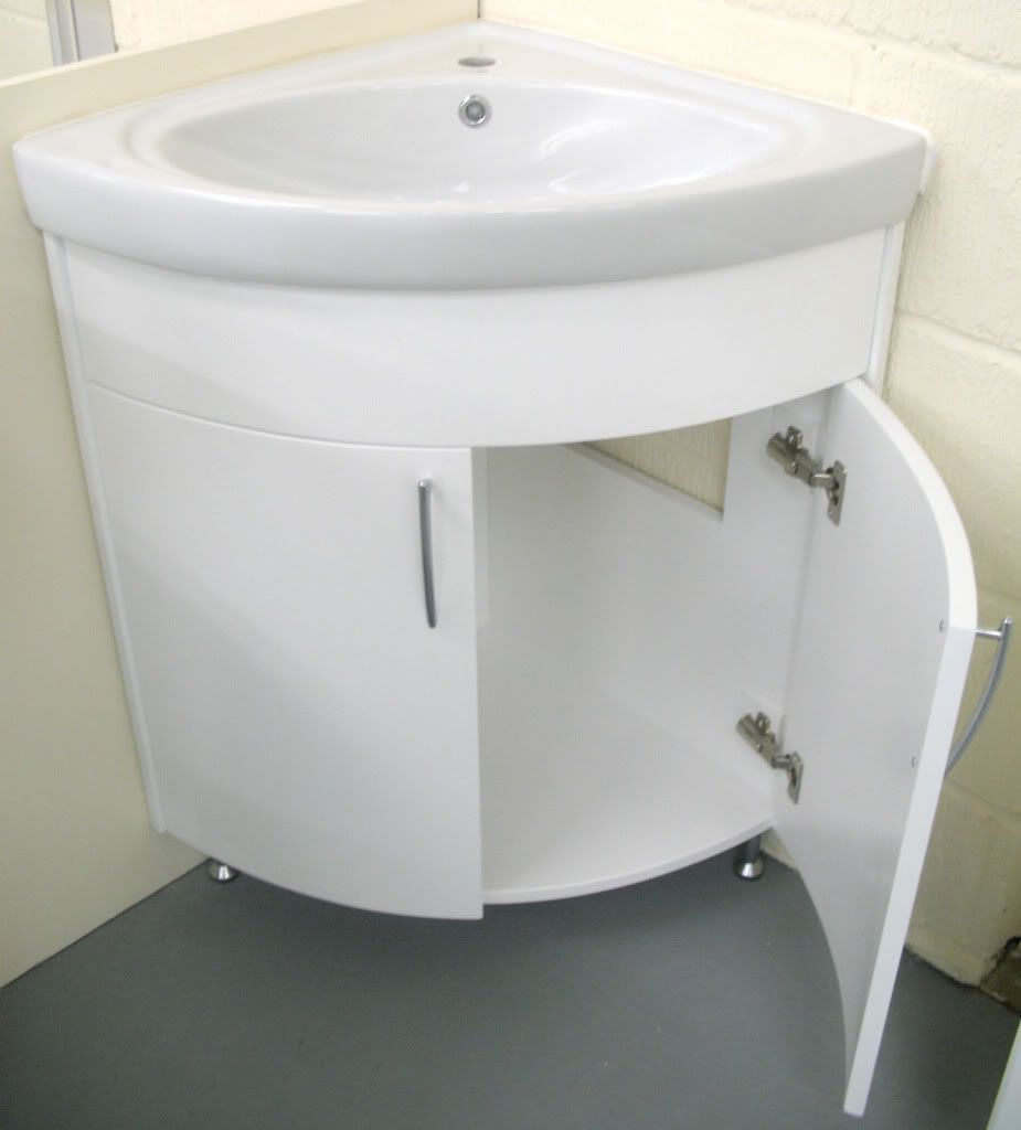 Image of: Corner Bathroom Vanity White