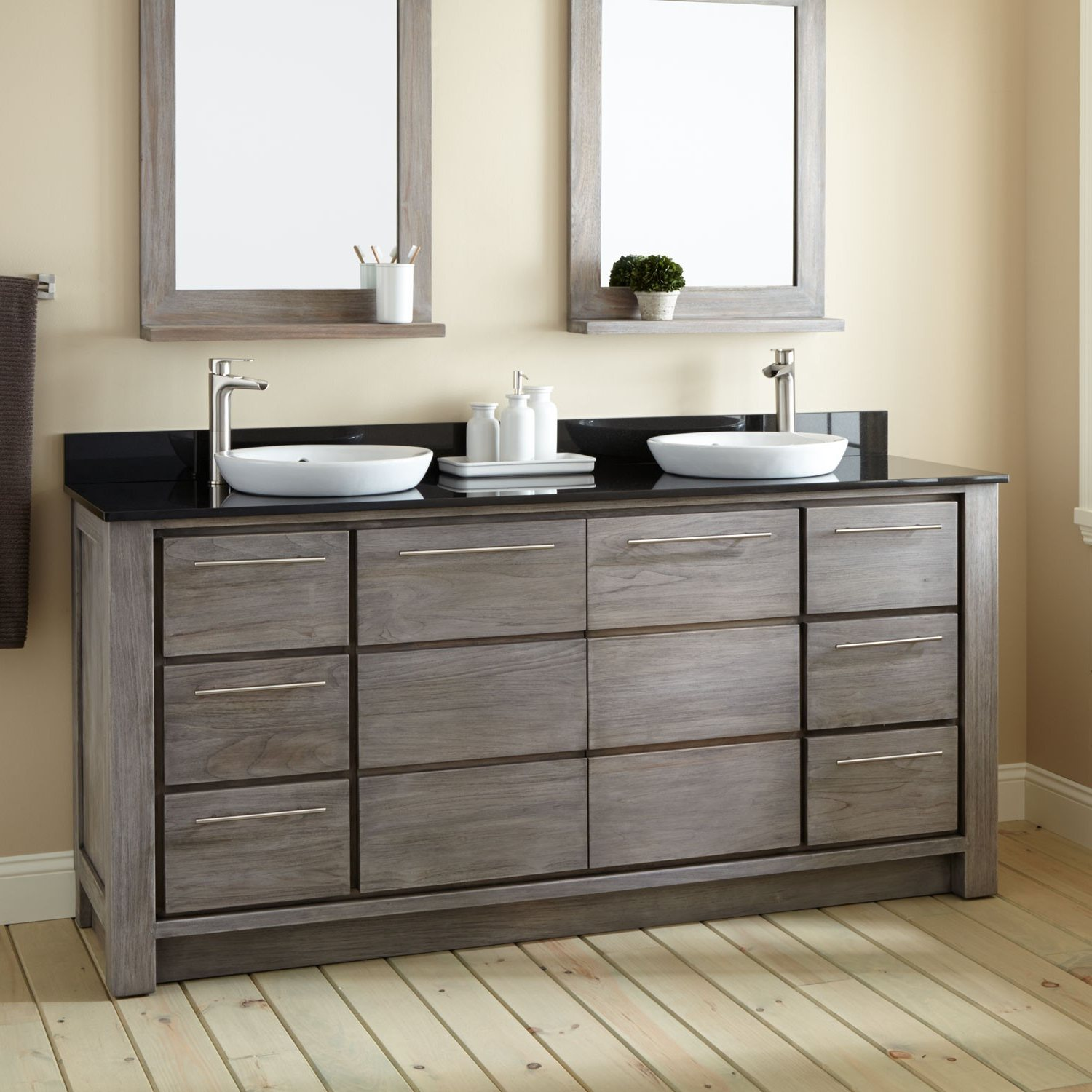 Image of: Country Rustic Double Vanity