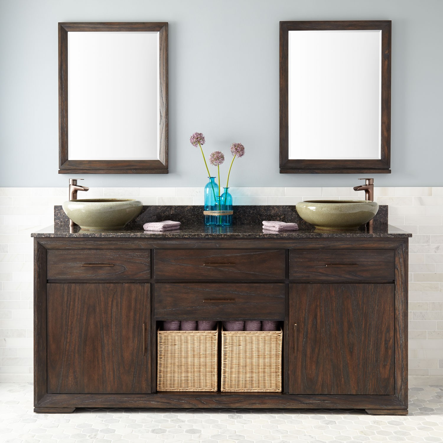 Picture of: Dark Brown Rustic Double Vanity