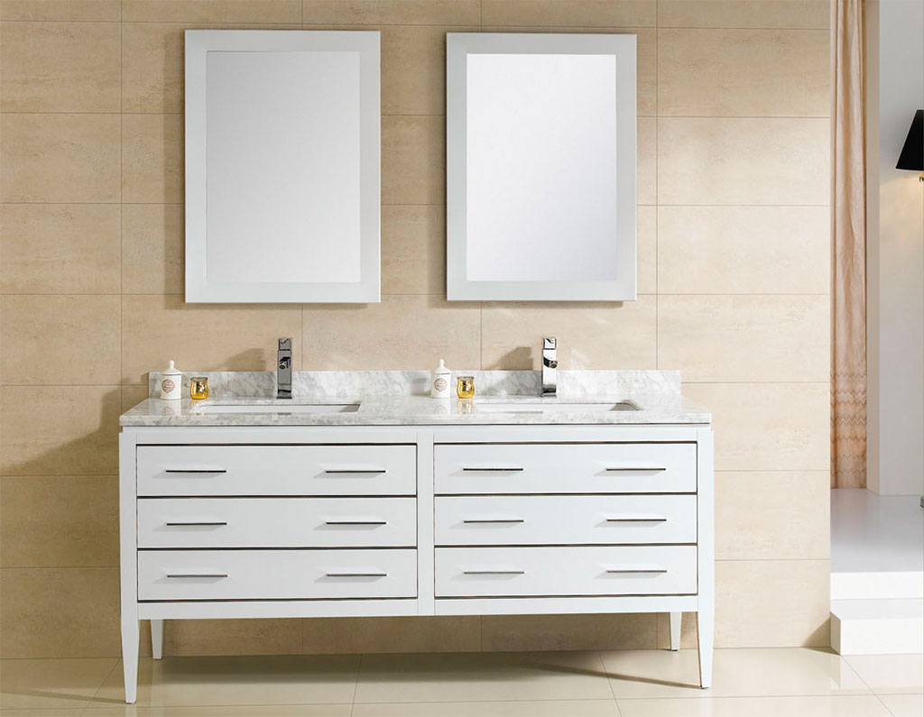 Image of: Double Sink Vanity White